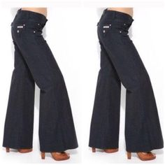"""Hudson Wide Leg Jeans First photo of model wearing this style of Jeans. Last 3 pics are actual item/color. Size 27 Waist. Wide leg has a 13"""" leg opening. Made of 98% Cotton and 2% Elastane. Inseam """"31. Laying flat """"13.5. Rise """"9. Length """"41. This item is NOT new, It is used and in Good condition. Authentic and from a Smoke And Pet free home. All Offers through the offer button ONLY.  Ask any questions BEFORE purchase. Please use the Offer button, I WILL NOT negotiate in the comment section…"""