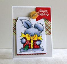 Cute Christmas Card Holiday Card Christmas Bunny by Bluewindow08
