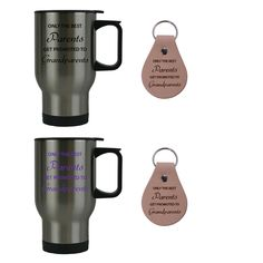 Only the Best Parents Get Promoted to Grandparents 14 oz Stainless Steel Travel Coffee Mugs Bundle with Leather Keychains (Black, Purple) - Great for Dads, Moms. Great for Expecting Grandpas, Grandmas for Dad, Grandpa, Grandma, Papa, Wife. Each product is designed and created in the USA.