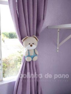 Par Prendedor de Cortina Urso Bege Claro | Felt Bear Curtain Holder