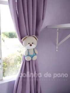 Par Prendedor de Cortina Urso Bege Claro | Felt Bear Curtain Holder