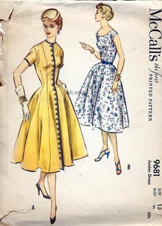 Vintage 1954 Princess Seam Full Dress Button Front or by sydcam123, $14.00