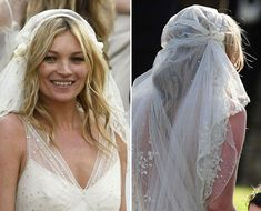 didn't know Kate Moss had a vintage wedding... love her Juliet Cap Veil! Kate Moss's Juliet Cap Veil