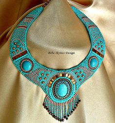 Bead Embroidery Necklace Collar  Turquoise Bronze Peach  Handmade Bead Embroidered OOAK
