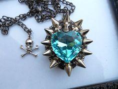 Spike Necklace Aqua Heart