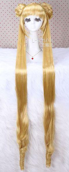Aino Minako Sailor Moon Long straight yellow Cos Girl Wig CW203
