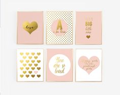 Blush Nursery Gallery Wall - Blush Pink and Gold Prints with personalized name, Nursery Print Decor, Pink Girl nursery,  Faux Foil by wallandwonder on Etsy https://www.etsy.com/listing/233963121/blush-nursery-gallery-wall-blush-pink