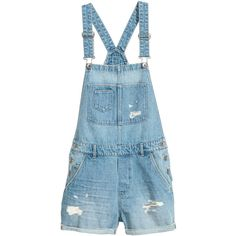Denim Bib Overall Shorts $34.99 (2.075 RUB) ❤ liked on Polyvore featuring short overalls