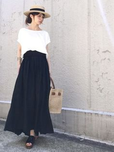 Maxi Skirt Outfits, Chic Outfits, Pretty Outfits, Spring Outfits, Fashion Outfits, Grey Fashion, Modest Fashion, Skirt Fashion, Love Fashion