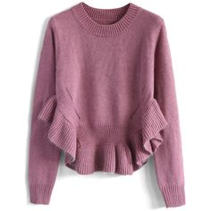 Chicwish Adorable Frilling Hemline Sweater in Violet (2,365 DOP) ❤ liked on Polyvore featuring tops, sweaters, jumpers, pink, cut out jumper, acrylic sweater, flutter-sleeve top, violet sweater and cutout tops
