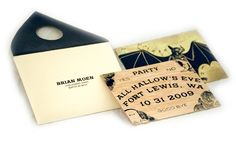 Ouija board inspired invitation crafted from balsa wood. Is this awesome? Signs point to yes.