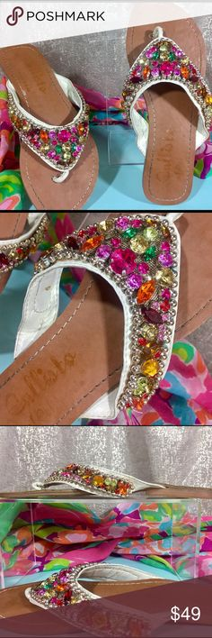 🏝CallistoOfCA✨Tellie BLING Gemstone Flat Thong👙 Are you ready for some Beach Blanket BLING?!?  This STUNNING sandal is for you!  Encrusted in GEMSTONES, this SOLD OUT limited edition features a lush, buttery band and genuine leather sole.  💕PreLoved💕 these gorgeous babes were worn once to a BBQ.  Unfortunately, my 'old broad' feet need more arch support... So I'm passing these beauties on to you at a steal with much love and sun rays!!  I can't speak highly enough of the quality of the…