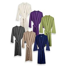 Pamper yourself in the luxurious feel of this kimono-style bathrobe. Perfect for all seasons, this robe is ultra-soft and lightweight and made of 100% organic combed cotton that wraps you up in plush comfort. Features 2 front pockets and an attached belt.