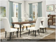 By Severinka Stella diningroom Created for: The Sims 4 Set of furniture for decorating a dining room in a classic style. Wood HD textures The set includes 12 objects: - dining table short. Dining Room Sets, Dining Room Design, Dining Table, Dining Room Furniture Sets, Coaster Furniture, Dining Chairs, Sims 4 Cc Furniture Living Rooms, Los Sims 4 Mods, Sims 4 Pets