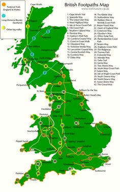 Long Distance Walks – There's One Out There For You – Me On A Trip britain_footpaths_map copy Walking Map, Walking Routes, Adventure Holiday, Adventure Travel, Lake District, Map Of Britain, Walking Holiday, Interactive Map, Long Distance