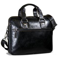 Jack Georges Men's Voyager Leather Double Zipper Slim Briefcase