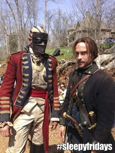 The Horseman, before he was Headless, and Ichabod Crane (they've been photobombed!)
