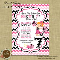 Cheerleading Invitation, Pink and Black, Cheerleader Cheer Party by SavoirFaireMedia, $15.00