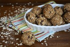 Quick and Healthy Snack Bites from Two Healthy Kitchens - Awesome no-bake recipe! Quick, healthy, delicious snack bites - full of protein and grains to give you tons of energy. Freezes well for grab-and-go convenience. Quick Healthy Snacks, Yummy Snacks, Snack Recipes, Dessert Recipes, Yummy Food, Healthy Recipes, Healthy Eats, Healthier Desserts, Eating Healthy