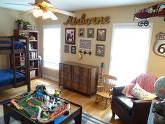 boy's vintage transportation bedroom, toddler room, airplanes, cars, trucks,
