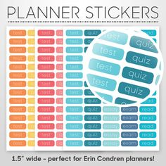 Student Planner Academic Stickers DIY Printable PDF - Perfect for Erin Condren, Filofax, Plum Paper - College, High School, Academic Planner by MonogramsByKS on Etsy