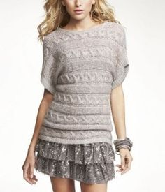 EXPRESS METALLIC CABLE KNIT T-SHAPE SWEATER: Our newest silhouette in sweaters is the casual T-shape pullover. Featuring metallic threading for a hint of sparkle and a chunky cable knit fit for the season. * 50% Mohair/29% Acrylic/21% Nylon & Lurex * Crew neck * T-shape, short sleeves * Open stitch cable knit * Metallic threading * Imported. Gray.