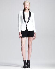 Sliver Leather-Lapel Tuxedo Blazer, Jacquard Knit Henley & Charlie Split-Side Shorts by Rag & Bone at Neiman Marcus.