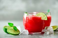 Glass of fresh watermelon juice with lime, mint, ice on light background, copy space photo by jchizhe on Envato Elements Drinks Alcohol Recipes, Yummy Drinks, Alcoholic Drinks, Milk Shakes, Hibiscus, Watermelon Tequila, Lights Background, Mixed Drinks, Juice
