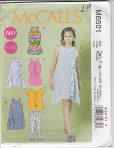 8d9840082a67 Easy Dress Pattern Romper Top Leggings Girls Plus Size 10 1 2 - 16 1 2  Uncut McCalls 6501