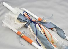 A unique set of baptism candles decorated in natural materials and leather cording. The set sparkles with it's gold color medallion crosses. Sisal Twine, Baptism Candle, Blue Candles, Boy Baptism, Candle Set, Gold Set, Candle Making, Grosgrain Ribbon, Blue Gold