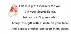 Secret Santa Poems, Clever Sayings Secret Santa Poems, . Secret Santa Poems, Clever Sayings Secret Santa Poems, .