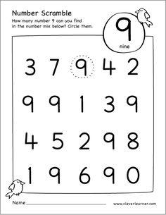 Number scramble activity worksheet for number 9 for preschool children Preschool Class Rules, Numbers Preschool, Preschool Learning Activities, Learning Numbers, Preschool Curriculum, Math Numbers, Preschool Activities, Worksheet For Nursery Class, Kindergarten Math Worksheets