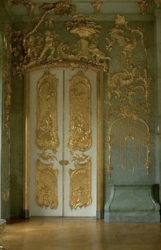 Gilded plasterwork in Schloss Charlottenburg Palace Berlin Germany
