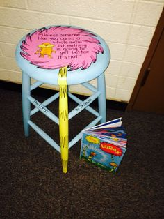 Repurposed chair for our Chair-ity event ties in with Read Across America Classroom Stools, Classroom Furniture, Classroom Design, Classroom Themes, Classroom Decor, Future Classroom, Dr Seuss Day, Dr Suess, Hand Painted Furniture