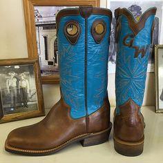 Custom Cowboy boot. Altaic Blue kidskin uppers with Nut Brown Dublin Vamps. #beckcowboyboots #beckboots #customboots #boots #cowboyboots #handmadecowboyboots #madeintexas