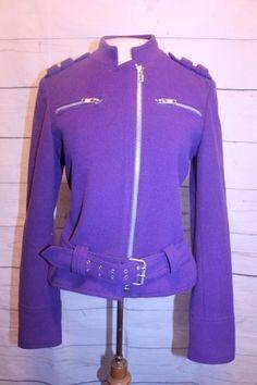 David N Coat 4 Purple Wool Bleend Zipper Front Moto Bomber Jacket #DavidN #BomberMoto #Causal