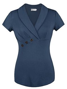 Looking for Ninedaily Women Lapel V Neck Button Elegant Short Sleeve Tunic Business Blouse ? Check out our picks for the Ninedaily Women Lapel V Neck Button Elegant Short Sleeve Tunic Business Blouse from the popular stores - all in one. Blouse Styles, Blouse Designs, Short Sleeve Blouse, Short Sleeve Dresses, Mode Swag, Bluse Outfit, Work Attire, Black Blouse, Dress Patterns