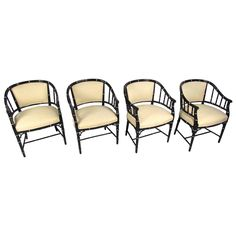 Set of Mid-Century Modern Bamboo Style Dining Chairs | From a unique collection of antique and modern dining room chairs at https://www.1stdibs.com/furniture/seating/dining-room-chairs/