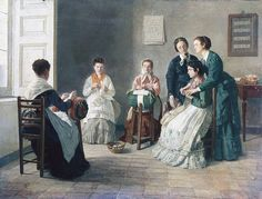 School for blind lace makers by Gioacchino Toma oil on canvas 60x79 cm Italy 19th century