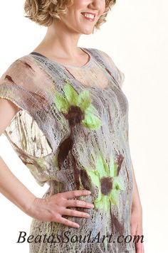 Nuno felted tunic, OOAK wool and cotton felted Art to Wear Fall Sunflowers #BSAFashion #Tunic