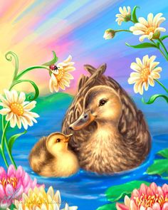 DIY Diamond Painting Mother and Baby Duck Drawing - craft kit Art Canard, Animal Pictures, Cute Pictures, Duck Drawing, Art Mignon, Duck Art, Baby Ducks, Cute Wallpaper Backgrounds, Cross Paintings