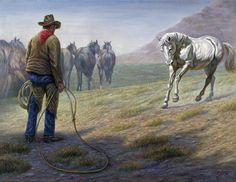 Native American Painting - The Standoff by Gregory Perillo Cowboy Theme, Cowboy Art, Cowboy And Cowgirl, Native American Paintings, Native American Art, Native American Medicine Wheel, Cowboy History, Cowboy Christmas, Wild Spirit