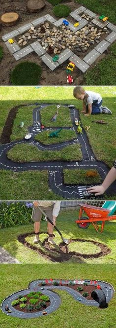 15 Cool and Budget-Friendly Projects for a Kid's Play Area - Backyard Garden Diy Kids Childrens Play Area Garden, Kids Outdoor Play, Outdoor Play Areas, Kids Play Area, Kids Fun, Outdoor Car Track For Kids, Backyard Play Areas, Kids Backyard Playground, Backyard Trampoline