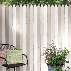 Instead of a boring white picket fence, use three different colors to create a pretty backdrop for an outdoor seating area. Colors pictured: Dutch Boy Sultry Gray 442-3DB, Weeping Birch 405-1DB and Moon Pie 406-1DB.