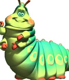 A Bug's Life - Heimlich (Joe Ranft) is a green caterpillar with a German accent and a clown in P. A Bugs Life Characters, Cartoon Characters, Walt Disney Pictures, Plan Bee, Principles Of Animation, Disney Clipart, Walter Elias Disney, Disney Pixar Movies, Cartoon Monsters