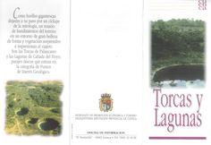 Folleto turístico de las Torcas y Lagunas en Cuenca, con lugares de interés y plano de recorridos. Patronato de Desarrollo Provincial de Cuenca, 1997. #Cuenca #Turismo