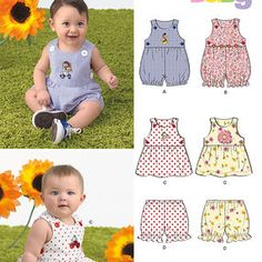 New Look 6385 Babies Dress Size A Romper and Panties Sewing Kit NB-S-M-L
