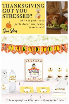 This is our Thanksgiving Printable. If you are planning a Thanksgiving Party, we have a few Thanksgiving Party Ideas to help. Our Thanksgiving Party Decorations are also great for Fall Party Ideas or Pilgrim Party Ideas. This year, print from home everything you need to have a fun Fall or Thanksgiving Party. #familythanksgiving #thanksgiving #thanksgivingkids #thanksgivingpartyideas Thanksgiving Banner, Thanksgiving Table Settings, Family Thanksgiving, Thanksgiving Parties, Birthday Party Places, Party Favors For Kids Birthday, Christmas Activities For Kids, Thanksgiving Activities, Cheap Party Decorations
