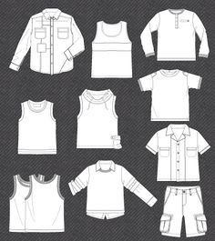 Set of isolated flat sketches for boys | Kidsfashionvector | cute vector art for kids clothes