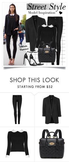 """""""Model Inspiration"""" by elske88 ❤ liked on Polyvore featuring J Brand, Topshop, Alice + Olivia, Mulberry, Yves Saint Laurent, StreetStyle, black, Model, sandals and skinnyjeans"""